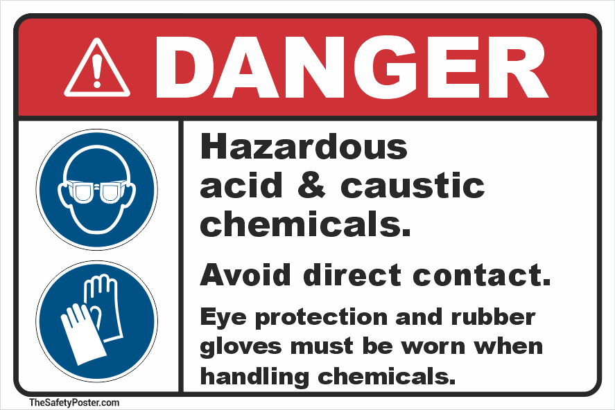 Hazardous acid & caustic chemicals sign