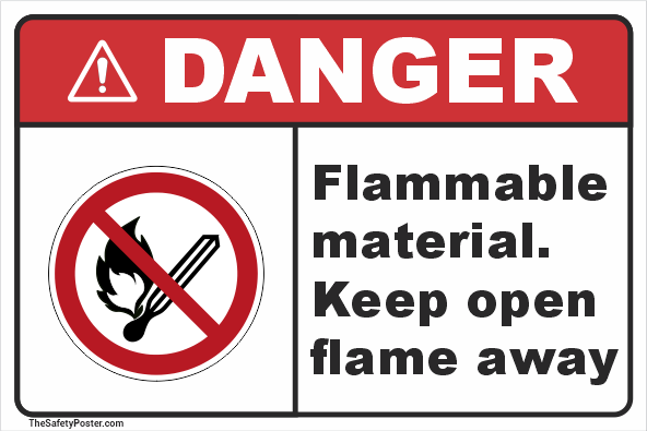 Flammable material. Keep open flame away sign
