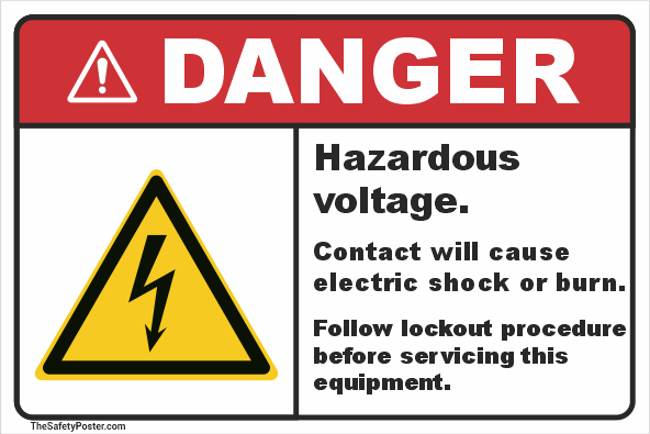 Hazardous voltage. Contact will cause electric shock or burn sign